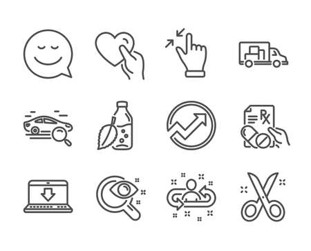 Set of Business icons, such as Truck transport, Audit, Internet downloading, Recruitment, Smile, Touchscreen gesture, Scissors, Search car, Vision test, Prescription drugs, Hold heart. Vector 일러스트