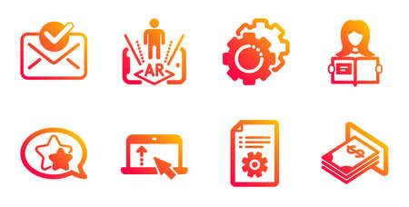 Star, Swipe up and Augmented reality line icons set. Technical documentation, Approved mail and Woman read signs. Settings gears, Atm money symbols. Favorite, Scroll screen. Business set. Vector