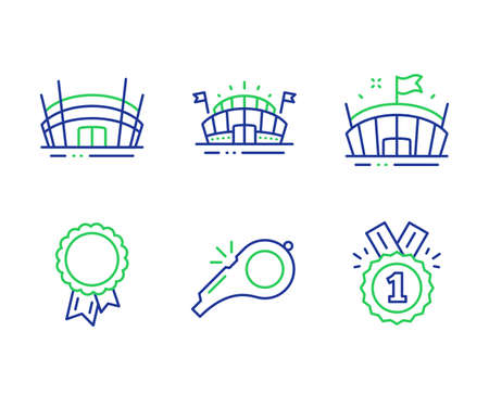 Whistle, Success and Sports arena line icons set. Arena, Approved signs. Kick-off, Award reward, Event stadium. Sport stadium. Sports set. Line whistle outline icons. Vector