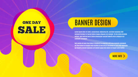 One day sale badge. Discount banner shape. Coupon bubble icon. Abstract background design. Banner with offer badge. Vector Illusztráció