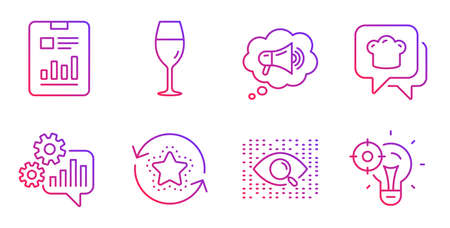Wineglass, Megaphone and Loyalty points line icons set. Cooking hat, Report document and Artificial intelligence signs. Cogwheel, Seo idea symbols. Burgundy glass, Brand message. Vector