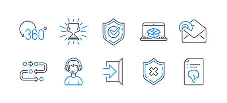 Set of Business icons, such as Reject protection, Online delivery, Exit, Receive mail, Full rotation, Confirmed, Consultant, Methodology, Trophy, Thumb down line icons. Vector