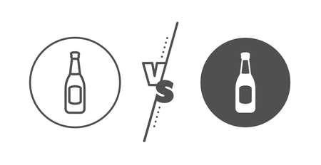 Pub Craft beer sign. Versus concept. Beer bottle line icon. Brewery beverage symbol. Line vs classic beer icon. Vector