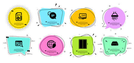 Lift, Documentation and Environment day line icons set. Chat bubbles with quotes. Shower, Website search and Seo signs. Text message, Mini pc symbols. Elevator, Project. Technology set. Vector Illustration