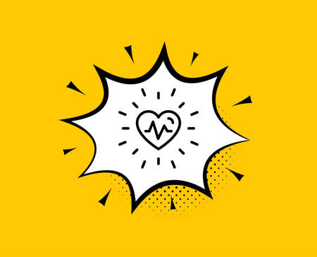 Heartbeat line icon. Comic speech bubble. Medical hear beat sign. Medicine symbol. Yellow background with chat bubble. Heartbeat icon. Colorful banner. Vector