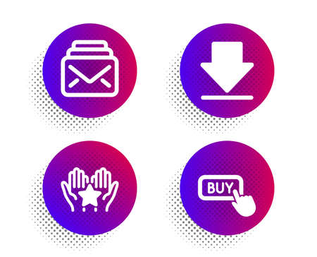 Ranking, Downloading and Mail icons simple set. Halftone dots button. Buy button sign. Hold star, Load information, New messages. Online shopping. Technology set. Classic flat ranking icon. Vector