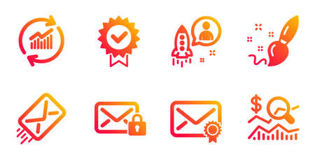 Secure mail, Verified mail and Paint brush line icons set. Update data, Startup and E-mail signs. Certificate, Check investment symbols. Private e-mail, Creativity. Education set. Vector