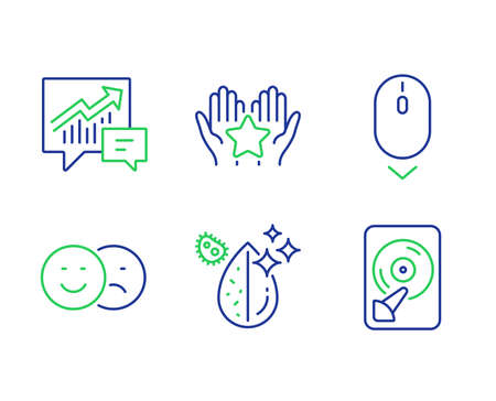 Scroll down, Ranking and Accounting line icons set. Like, Dirty water and Hdd signs. Mouse swipe, Hold star, Supply and demand. Social media dislike. Technology set. Vector