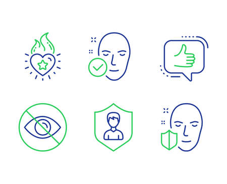 Like, Heart flame and Not looking line icons set. Security agency, Health skin and Face protection signs. Thumbs up, Love fire, Eye care. People protection. People set. Line like outline icons. Vector