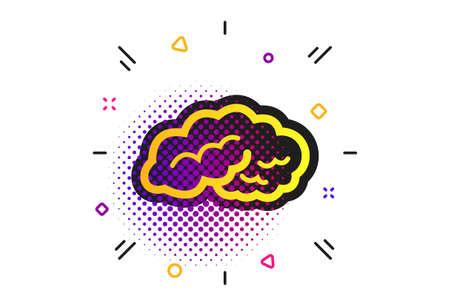 Brain sign icon. Halftone dots pattern. Human intelligent smart mind. Classic flat brain icon. Vector