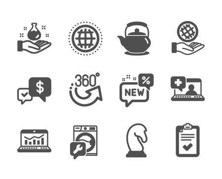 Set of Business icons, such as Marketing strategy, Teapot, Payment received, Checklist, Web analytics, Chemistry lab, New, 360 degrees, Medical help, Safe planet, Globe, Washing machine. Vector