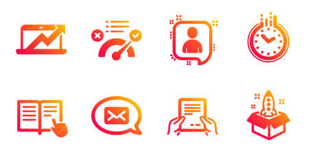 Developers chat, Messenger and Read instruction line icons set. Receive file, Time and Sales diagram signs. Correct answer, Startup symbols. Manager talk, New message. Education set. Vector