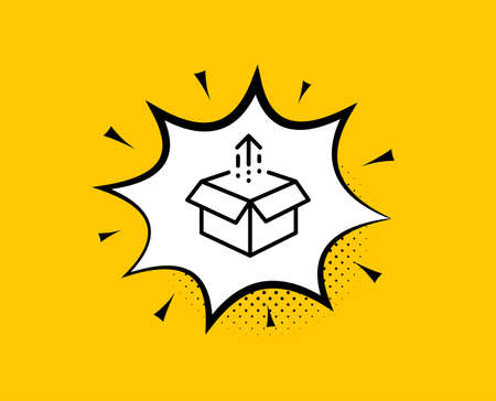 Send box line icon. Comic speech bubble. Open delivery parcel sign. Cargo package symbol. Yellow background with chat bubble. Send box icon. Colorful banner. Vector