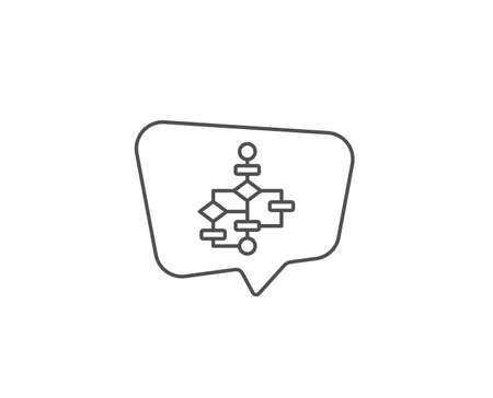 Block diagram line icon. Chat bubble design. Path scheme sign. Algorithm symbol. Outline concept. Thin line block diagram icon. Vector