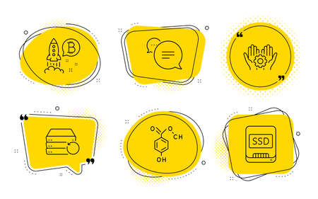 Chemical formula, Recovery server and Ssd signs. Chat bubbles. Bitcoin project, Text message and Employee hand line icons set. Cryptocurrency startup, Chat bubble, Work gear. Chemistry. Vector