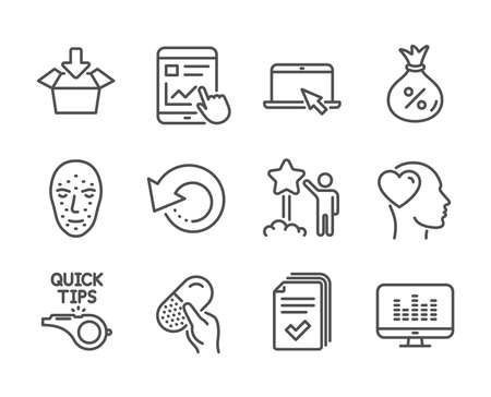 Set of Business icons, such as Handout, Capsule pill, Portable computer, Music making, Star, Tutorials, Loan, Friend, Internet report, Get box, Face biometrics, Recovery data line icons. Vector Illustration