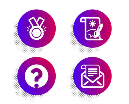 Creative painting, Honor and Question mark icons simple set. Halftone dots button. Mail newsletter sign. Graphic art, Medal, Ask support. Open e-mail. Education set. Vector