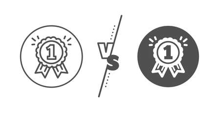 Winner achievement or Award symbol. Versus concept. Reward Medal line icon. Glory or Honor sign. Line vs classic reward icon. Vector 版權商用圖片 - 135250431