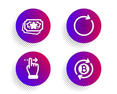 Loyalty points, Synchronize and Touchscreen gesture icons simple set. Halftone dots button. Refresh bitcoin sign. Bonus coupon, Refresh or update, Slide right. Update cryptocurrency. Vector