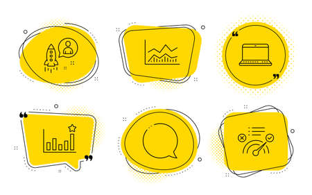 Efficacy, Speech bubble and Correct answer signs. Chat bubbles. Notebook, Startup and Trade infochart line icons set. Laptop computer, Developer, Business analysis. Business chart. Vector