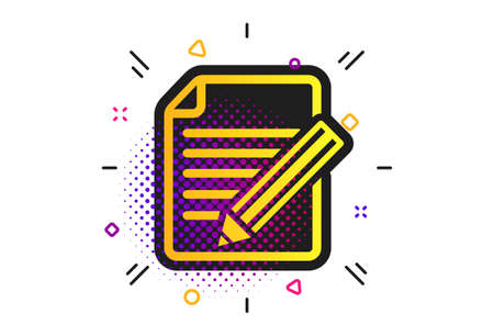 Edit document sign icon. Halftone dots pattern. Edit content button. Classic flat edit icon. Vector