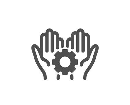 Work gear sign. Employee hands icon. Development cogwheel symbol. Classic flat style. Simple employee hand icon. Vector