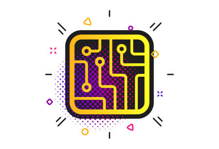 Circuit board sign icon. Halftone dots pattern. Technology scheme square symbol. Classic flat technology icon. Vector