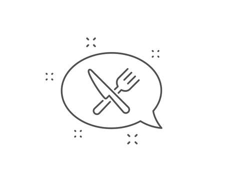 Food line icon. Chat bubble design. Cutlery sign. Fork, knife symbol. Outline concept. Thin line food icon. Vector