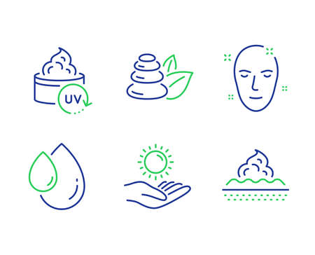Health skin, Oil drop and Uv protection line icons set. Spa stones, Sun protection and Skin care signs. Clean face, Serum, Bath. Ultraviolet care. Beauty set. Line health skin outline icons. Vector