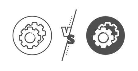 Cogwheel sign. Versus concept. Settings gears line icon. Working process symbol. Line vs classic settings gears icon. Vector
