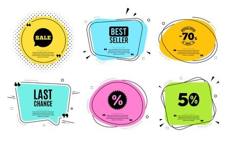 Last chance Sale. Best seller, quote text. Special offer price sign. Advertising Discounts symbol. Quotation bubble. Banner badge, texting quote boxes. Last chance text. Coupon offer. Vector