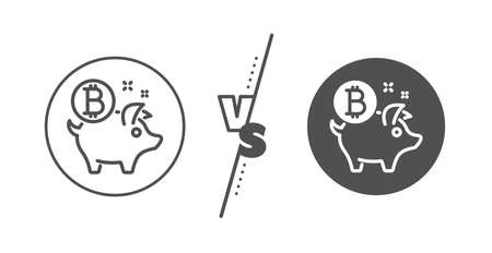Cryptocurrency coin sign. Versus concept. Bitcoin line icon. Piggy bank money symbol. Line vs classic bitcoin coin icon. Vector