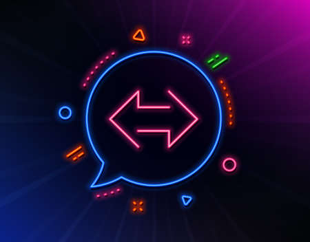 Sync arrows line icon. Neon laser lights. Communication Arrowheads symbol. Navigation pointer sign. Glow laser speech bubble. Neon lights chat bubble. Banner badge with sync icon. Vector