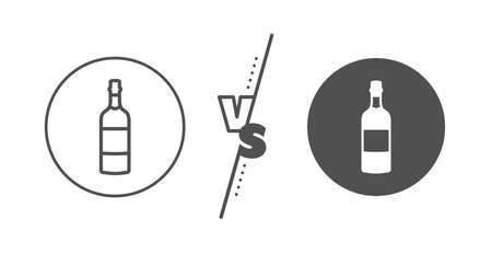 Whiskey alcohol sign. Versus concept. Brandy bottle line icon. Line vs classic brandy bottle icon. Vector