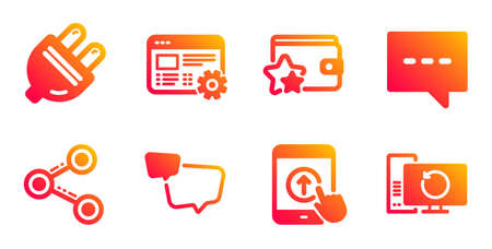 Blog, Speech bubble and Swipe up line icons set. Electric plug, Loyalty program and Share signs. Web settings, Recovery computer symbols. Chat message, Scrolling screen. Technology set. Vector Illusztráció