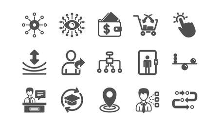 Artificial intelligence, Balance and Refer friend icons. Timeline, Multichannel. Classic icon set. Quality set. Vector