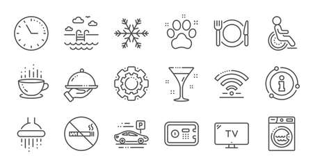Hotel service line icons. WiFi, Air conditioning and Washing machine. Pets, swimming pool and hotel parking icons. Linear set. Quality line set. Vector