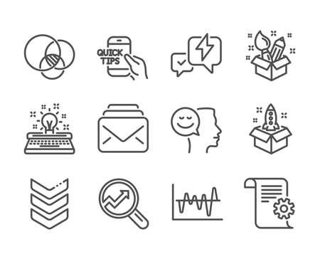 Set of Education icons, such as diagram, Typewriter, Analytics, Technical documentation, Lightning bolt, Education, Shoulder strap, Stock analysis, Mail, Creativity, Good mood. Vector Ilustrace