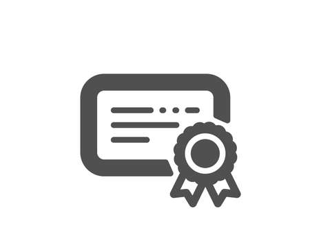 Verified document sign. Certificate icon. Accepted or confirmed symbol. Classic flat style. Simple certificate icon. Vector Ilustrace