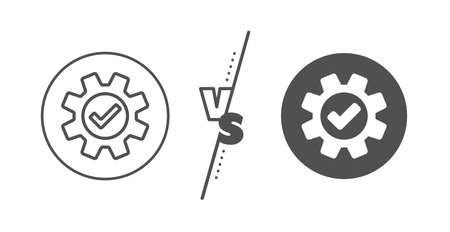 Approved Service sign. Versus concept. Cogwheel line icon. Transmission Rotation Mechanism symbol. Line vs classic service icon. Vector 向量圖像