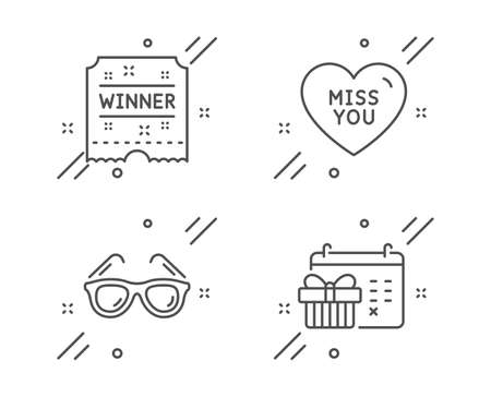 Winner ticket, Sunglasses and Miss you line icons set. Christmas calendar sign. Carousels award, Travel glasses, Love heart. Presents day. Holidays set. Line winner ticket outline icon. Vector