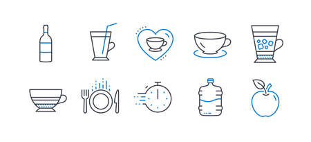 Set of Food and drink icons, such as Wine bottle, Espresso, Coffee cup, Frappe, Mocha, Love coffee, Cooler bottle, Food, Cooking timer, Apple line icons. Cabernet sauvignon, Latte drink. Vector