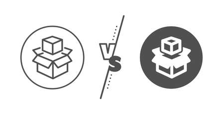 Delivery parcel sign. Versus concept. Box line icon. Packing boxes symbol. Line vs classic packing boxes icon. Vector