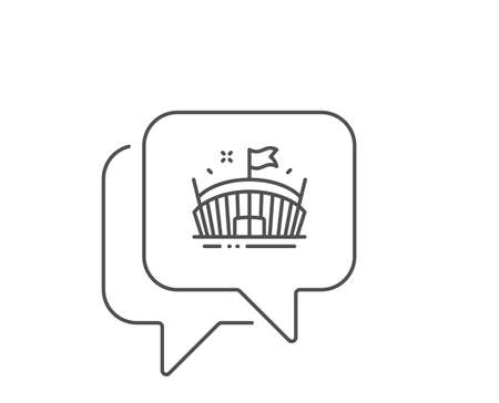 Sports stadium line icon. Chat bubble design. Arena with flag sign. Sport complex symbol. Outline concept. Thin line arena icon. Vector