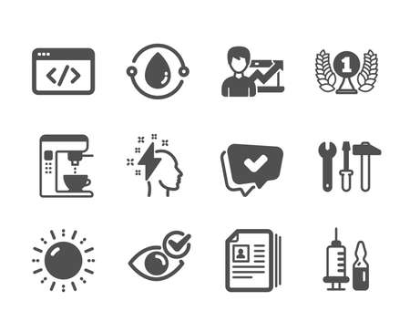 Set of Business icons, such as Cold-pressed oil, Medical vaccination, Brainstorming, Success business, Sun energy, Coffee maker, Check eye, Seo script, Approved, Cv documents, Spanner tool. Vector