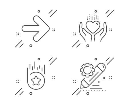 Hold heart, Next and Loyalty star line icons set. Project edit sign. Care love, Forward, Bonus reward. Settings. Business set. Line hold heart outline icon. Vector
