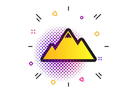 Mountain icon. Halftone dots pattern. Mountaineering sport sign. Leadership motivation concept. Classic flat mountain icon. Vector
