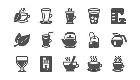 Icone di caffè e tè. Cappuccino, Teiera e Caffettiera. Insieme classico dell'icona dei chicchi di caffè. Insieme di qualità. Vettore
