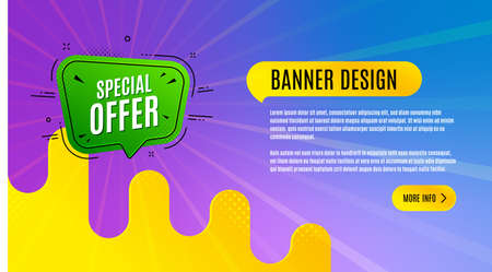 Special offer badge. Discount banner shape. Sale coupon bubble icon. Abstract background design. Banner with offer badge. Vector