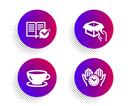 Hold box, Approved documentation and Espresso icons simple set. Halftone dots button. Safe time sign. Delivery parcel, Instruction book, Coffee cup. Hold clock. Business set. Vector